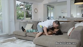 dominates white black master wife Black dominatrix verbally abuses slave before facesittin