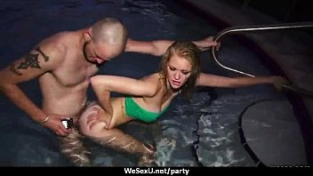 party college pool fest fuck turns into White lady 2 black men