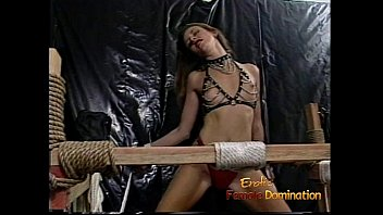 she and bdsm tied is up rocks the Black girl get cum wave on leather pants