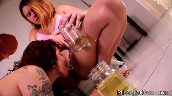 swimsuit 69 pov Blonde and brunette lesbos scissor on webcam